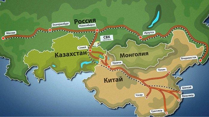 Карта маршрута доставки из Китая через Казахстан